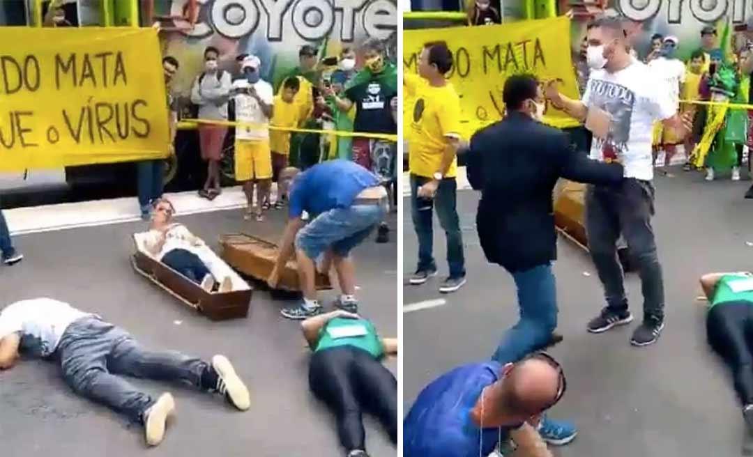 Bolsonaristas dançam com caixão e negam 10 mil mortes: 'Mata muito menos'