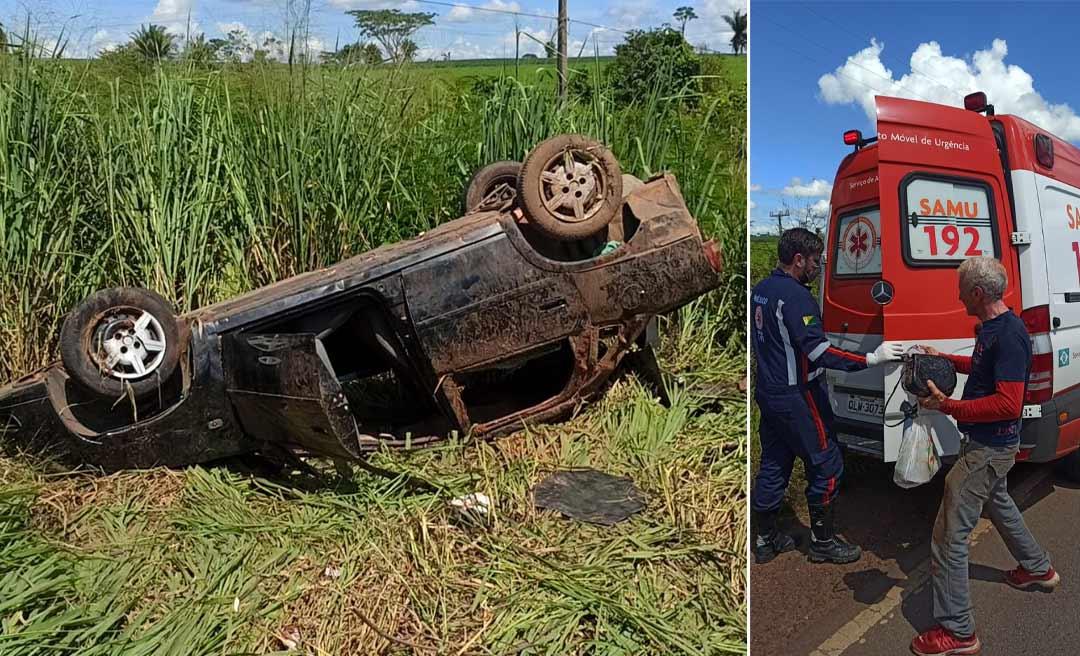 Quatro pessoas ficam feridas após capotamento de veículo na BR-364 em Rio Branco