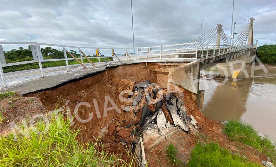 Erosão provoca deslizamento na cabeceira da ponte do rio Tarauacá e pode isolar o Juruá