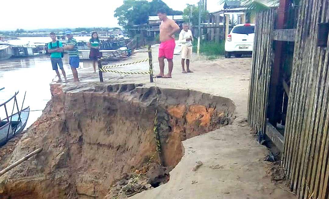 Após a vazante, casas em Tarauacá podem desabar e Defesa Civil faz alerta